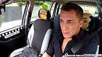 backseat the in driver taxi rides blonde Czech