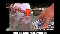 Backyard poker party turns into foursome porn videos