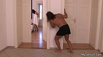 Tiny titted brunette gf cheating with father in...