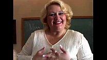 Chubby MILF teacher has a nice little wank
