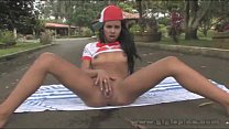 Gigi Spice masturbating outdoors
