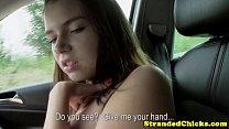 Big titted h itch hiking teen loves cock