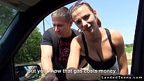 Hitchhiker couple fucking in car of stranger - download porn videos