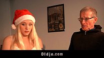 Dirty teen blonde hard ass slapped by Santa Claus