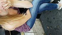 downblouse girls in street public