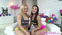 SWALLOWED Sarah and Vicki Chase sloppy blowjob ...)