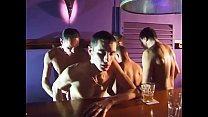 Horny hunks in bar have hot orgy
