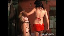 Young slave girls lesbian domination in leather collared bondage and lezdom