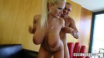 Blonde MILF slaps his Cock around)