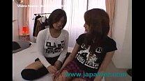 Dirty Asian Lesbian Girl Licks Black High Heel Boots of Other Dike
