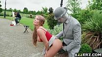 Hot babe Alessandra enjoys an oudoor fuck