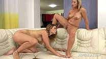 Blonde pissing lesbians love to lick pussy and ...