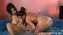 Sexy Sophie Dee Plays with Tits and Toys in the...