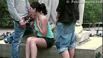 a chubby girl fucked on the street by 2 guys in public threesome