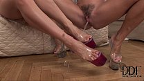 two horny blonde foot worshipping lesbian babes in action