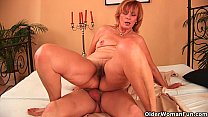 Plump grandma fucks her toy boy's cock with her...