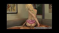 92 lbs tranny coed cums while analed