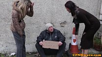 Femdom Brooklyn Blue bj for homeless man thumb