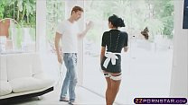 Maid strip down and coat up her luscious tits with soap