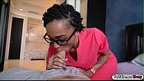 Ebony GF Julie Kay sucks off and rides her sick...
