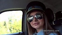 Teen police woman sucking dick in car