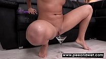 Emma Del Rey Pees In Glass And Fucks Dildo