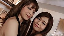 Japanese idol Nao and a horny girlfriend drive the camera