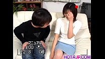 Hitomi gets sucked cock in hairy slit doggy
