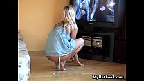 Pretty light haired girlfriend home alone watching porn