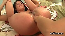 unusual lesbian peaches are gaping and fist fucking anals