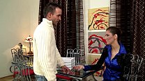 horny young girl kitty jane doing blowjob for pizza guy