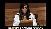 big tit brunette doctor uses her patient for a sexy threesome