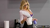 Clumsy intern with big tits fucks her boss in the office thumbnail