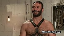 Hairy gay post orgasm torment in bondage