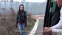 Squirting brunette found on the street with nak...