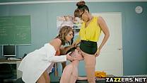 Double team by the horny teacher and the nurse porn videos