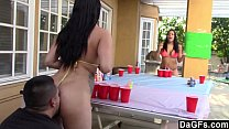 Beer pong game turn in hot sex trip with 2 booty latina