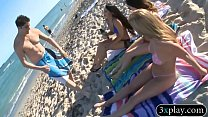 Babes convinced to have a painted body bikini f... thumb