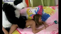 wild teenie doing blowjob and gets pounded
