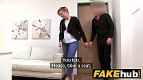 Fake Agent Short haired tattoo babe banged hard... thumb