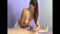 Young brunette giving handjob and tugjob