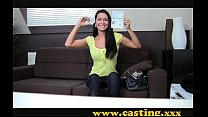 casting – beautiful brunette gets perfect body …