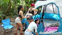 camping girls surprise blowjob