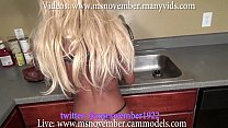 step brother blackmail ebony teen step sister in kitchen while washing dishes 18