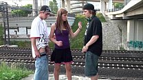 Young pretty girl in PUBLIC teen gangbang railw...