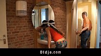 old man pumps in ass a young slutty cleaning lady