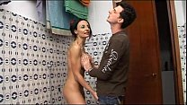 Horny geek boy spies her naked mom in the shower