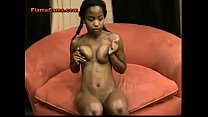 Petite ebony amateur in pigtails teases with he...