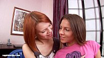 Short haired lesbians Aly and Lilly have fun wi...