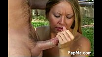 Naughty blonde makes a guy cum